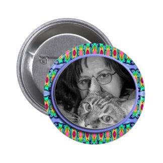 blue photoframe 6 cm round badge