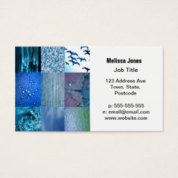 Photo collage business cards business card printing zazzle uk blue photography collage business card colourmoves