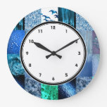 Blue Photography Collage clock with numbers