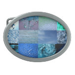 Blue Photography Collage Oval Belt Buckles