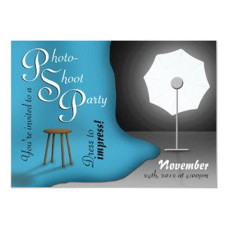 "Blue Photoshoot Party Invitations 5"" X 7"" Invitation Card"