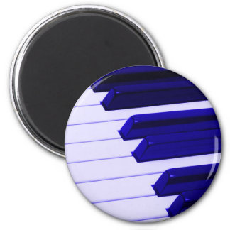 Blue Piano Keyboard 6 Cm Round Magnet