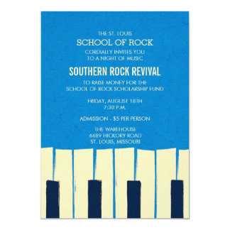 Blue Piano Keys Music Recital Invitation
