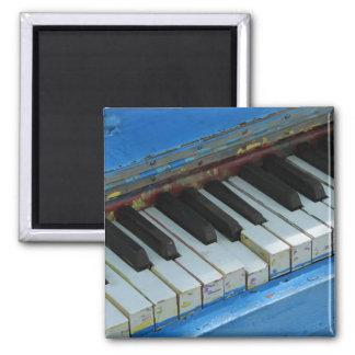 Blue Piano Square Magnet