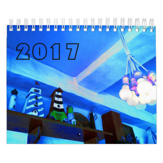 Blue picture calendar 2017