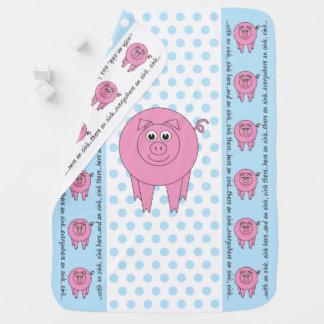 Blue Pig Baby Blanket