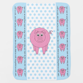 Blue Pig Baby Blanket (one-sided)