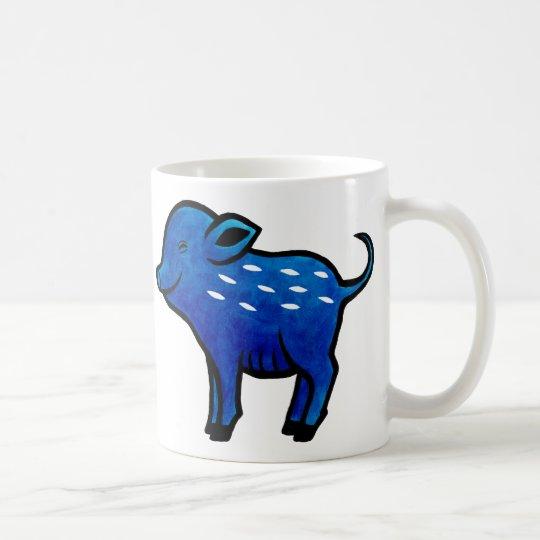 Blue Pig Mug Cute Pig Art Unique Pig