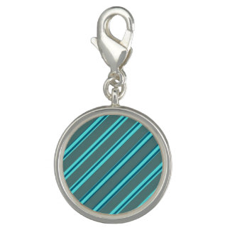 Blue Pin Stripe Round Charm