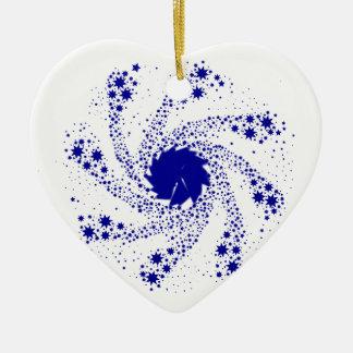 Blue Pin Wheel Ceramic Heart Decoration