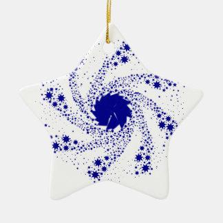 Blue Pin Wheel Ceramic Star Decoration