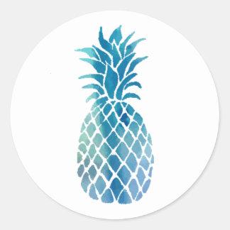 blue pineapple design classic round sticker