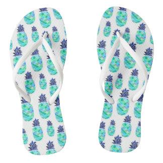 Blue Pineapple Flip Flops