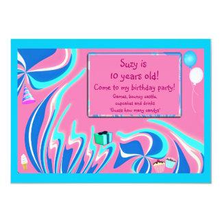 Blue, pink and aqua fantasy 11 cm x 16 cm invitation card