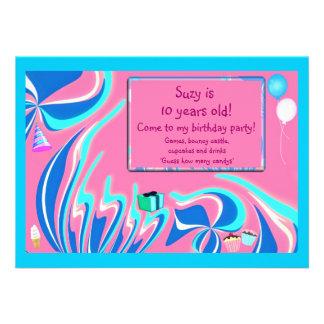 Blue, pink and aqua fantasy custom announcements