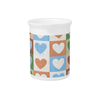 Blue Pink and Green Love Hearts on Fabric Drink Pitchers