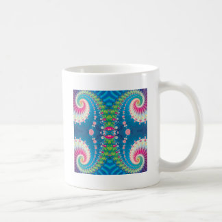 Blue Pink and Green Spiral Fractal Basic White Mug