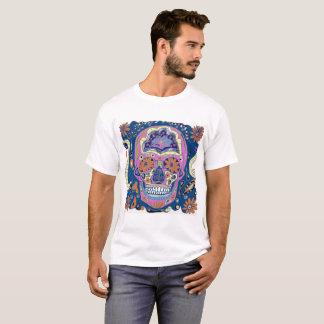 Blue Pink and Orange Tattoo Style Sugar Skull T-Shirt