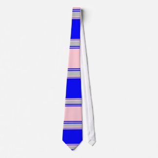 Blue Pink and Silver Horizontal Striped Tie