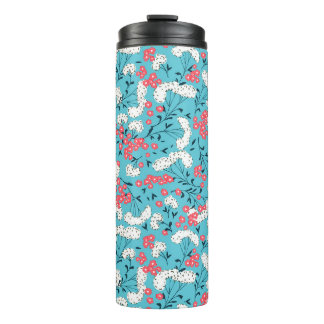 Blue Pink And White Floral Pattern Thermal Tumbler