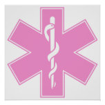 Blue Pink Aqua Baby Hot  Nurse EMS Star of Life Poster