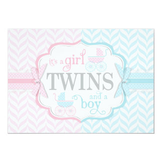 Blue & Pink Baby Carriage Twins Baby Shower Card