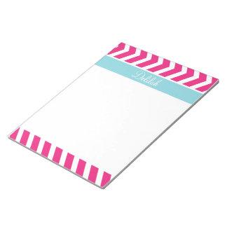 Blue Pink Chevron Custom Name Notepad