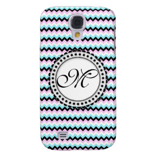 Blue & Pink Chevron Monogram Customizable Design Galaxy S4 Case