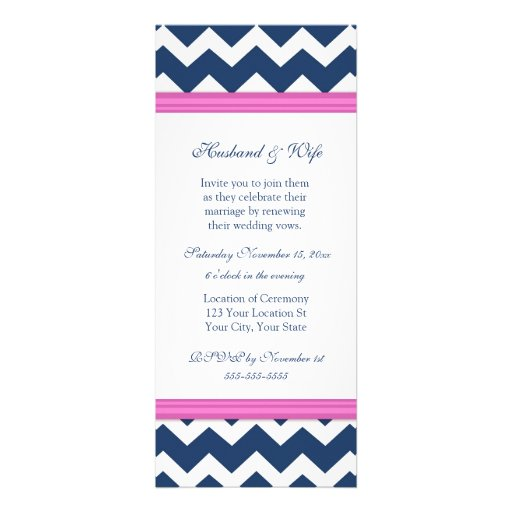 Blue Pink Chevron Wedding Vow Renewal Invitation 10 Cm X 24 Cm Invitation Card