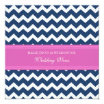 Blue Pink Chevron Wedding Vow Renewal Invitations