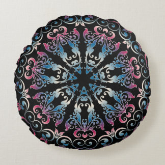 Blue & Pink Circular Damask Pattern On Black