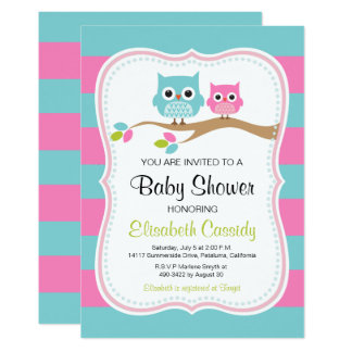 Blue & Pink Cute Owls Baby Shower Invite. Card