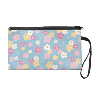 Blue pink exotic tropical flowers elegant clutch wristlet purse