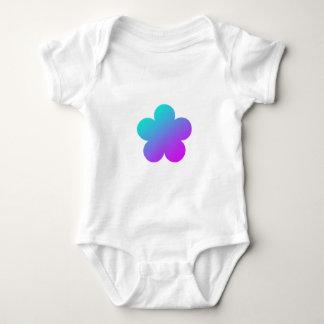 Blue/pink flower on white. baby bodysuit