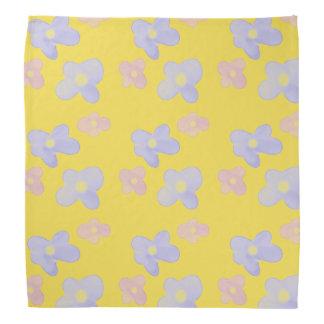 Blue Pink Flowers on bright yellow Bandana