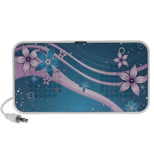 blue pink flowers -vector art iPod speakers