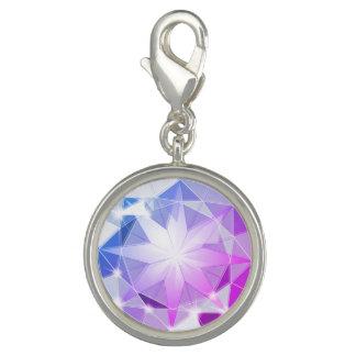 Blue Pink Gemstone Compass Rhinestone Look