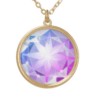 Blue Pink Gemstone Compass Rhinestone Look Gold Plated Necklace