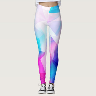 Blue pink geometric leggings