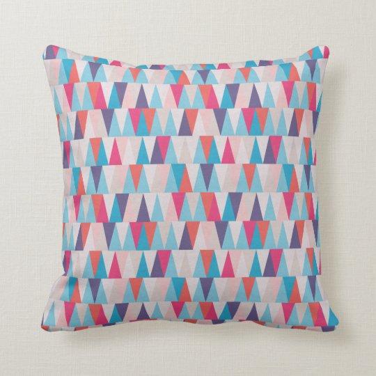 Blue & Pink Geometric Triangle Pattern Cushion