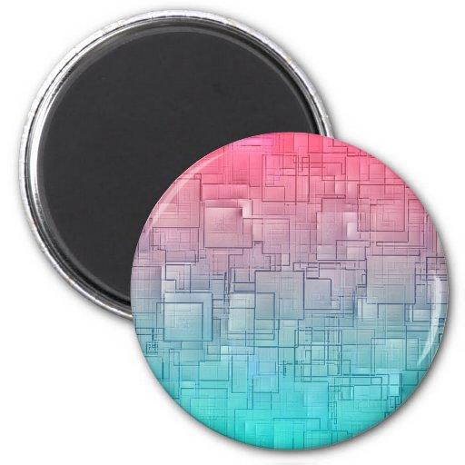 Blue Pink Geometric Vintage Pattern Refrigerator Magnets