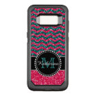 Blue & Pink Glitter Chevron Personalised Defender OtterBox Commuter Samsung Galaxy S8 Case