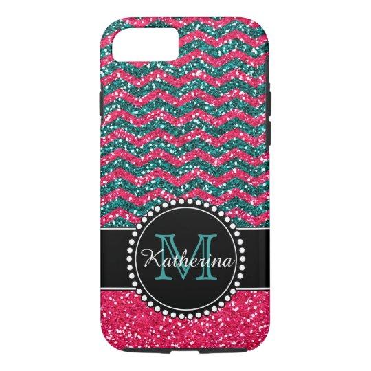 Blue & Pink Glitter Chevron Personalised iPhone 8/7