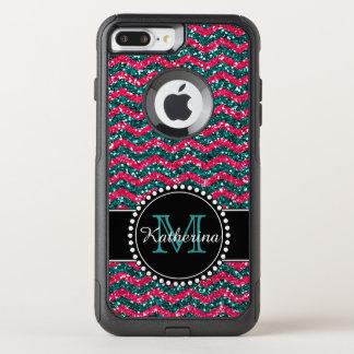 Blue & Pink Glitter Chevron Personalized Defender OtterBox Commuter iPhone 7 Plus Case