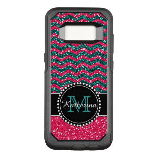 Blue & Pink Glitter Chevron Personalized Defender OtterBox Commuter Samsung Galaxy S8 Case