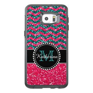 Blue & Pink Glitter Chevron Personalized Defender OtterBox Samsung Galaxy S6 Edge Plus Case