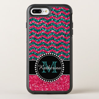 Blue & Pink Glitter Chevron Personalized Defender OtterBox Symmetry iPhone 8 Plus/7 Plus Case