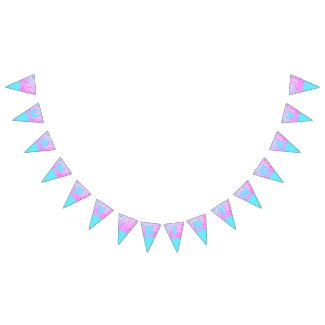 Blue & Pink Glitter Happy Birthday Bunting Flags