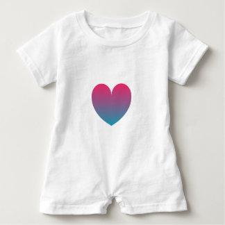 blue pink gradient heart baby bodysuit