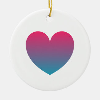 blue pink gradient heart christmas ornament